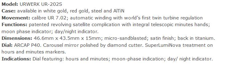 specificatie urwerk ur202S